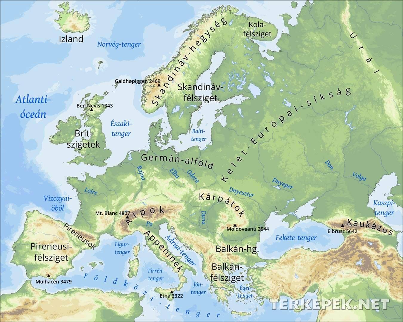 európa domborzati térkép Európa domborzati térképe európa domborzati térkép
